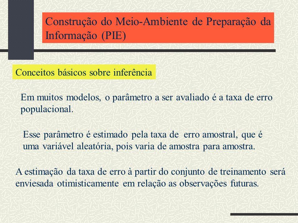 Construção do Meio-Ambiente de Preparação da Informação (PIE) Conceitos básicos sobre inferência Em muitos modelos, o parâmetro a ser avaliado é a tax