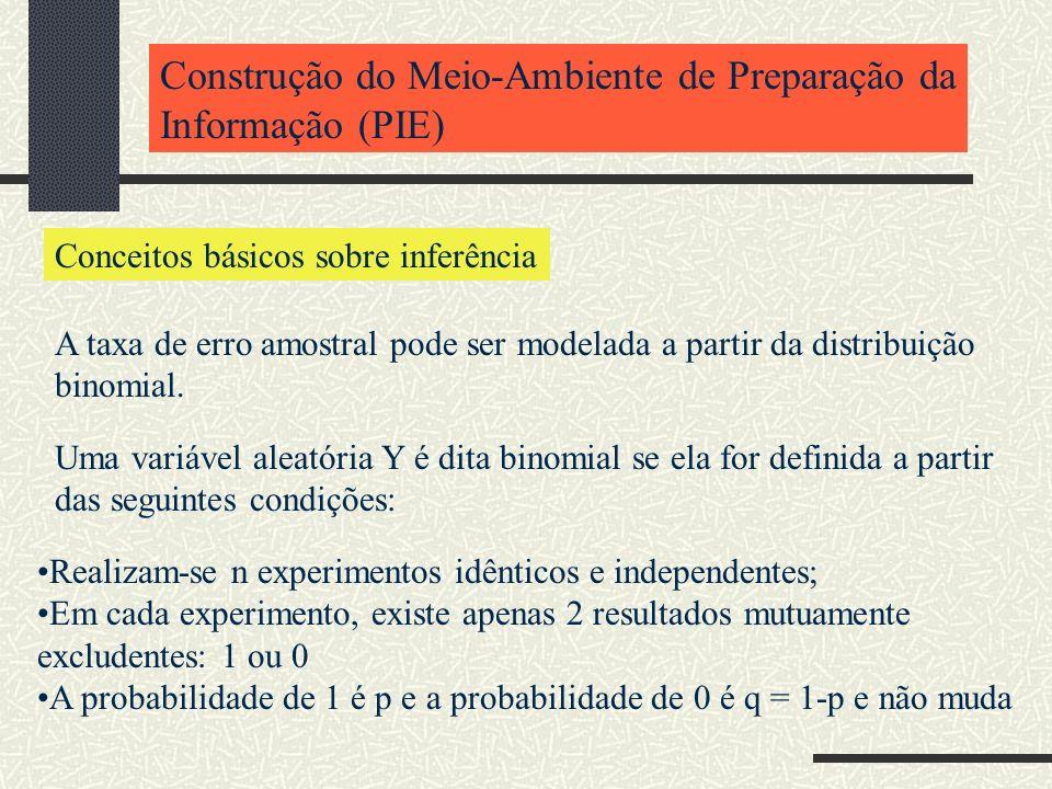 Construção do Meio-Ambiente de Preparação da Informação (PIE) Conceitos básicos sobre inferência A taxa de erro amostral pode ser modelada a partir da