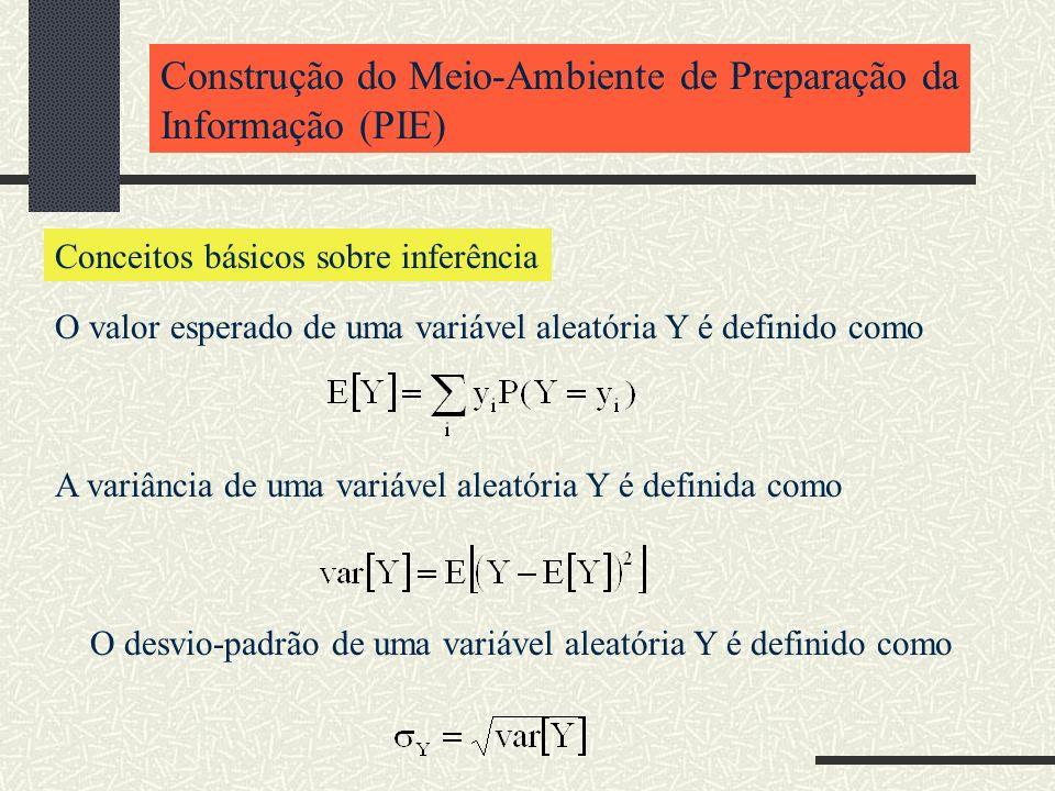 Construção do Meio-Ambiente de Preparação da Informação (PIE) Conceitos básicos sobre inferência O valor esperado de uma variável aleatória Y é defini