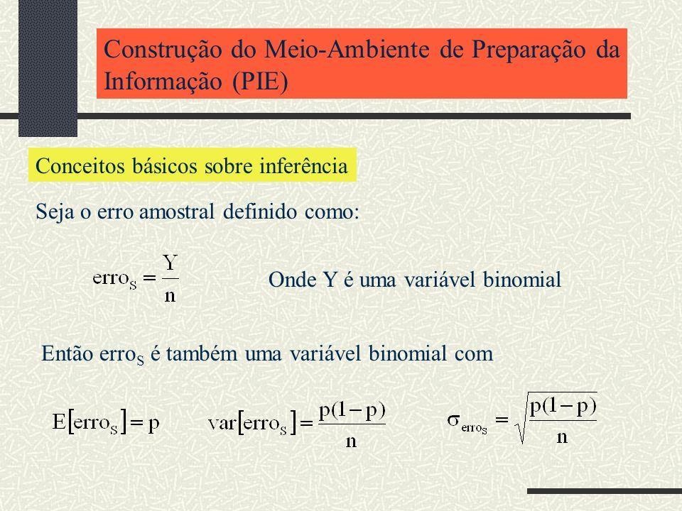 Construção do Meio-Ambiente de Preparação da Informação (PIE) Conceitos básicos sobre inferência Seja o erro amostral definido como: Onde Y é uma vari