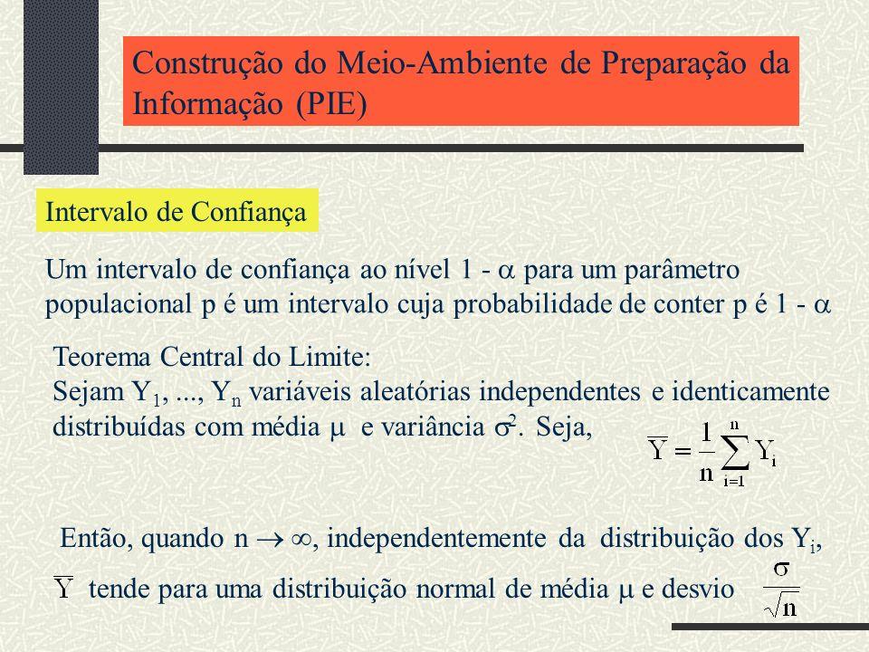 Construção do Meio-Ambiente de Preparação da Informação (PIE) Intervalo de Confiança Um intervalo de confiança ao nível 1 - para um parâmetro populaci
