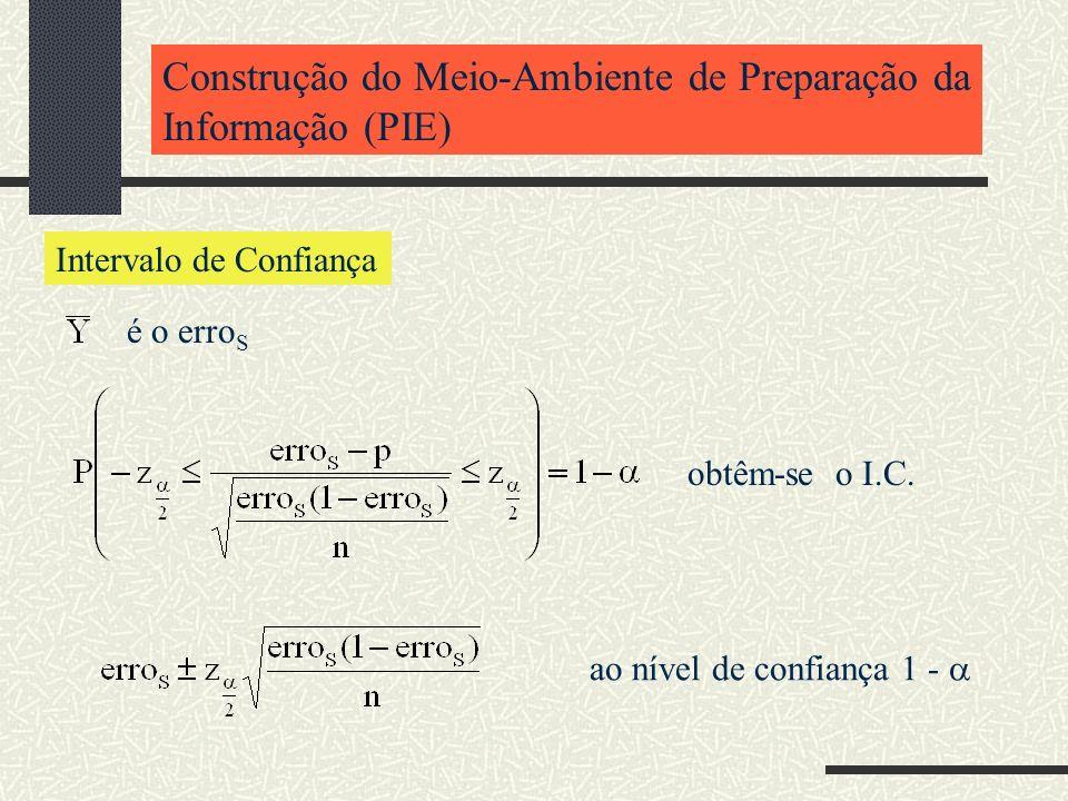 Construção do Meio-Ambiente de Preparação da Informação (PIE) Intervalo de Confiança é o erro S obtêm-se o I.C. ao nível de confiança 1 -