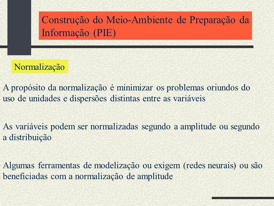 Construção do Meio-Ambiente de Preparação da Informação (PIE) Normalização A propósito da normalização é minimizar os problemas oriundos do uso de uni