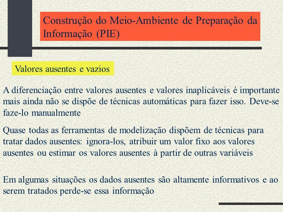 Construção do Meio-Ambiente de Preparação da Informação (PIE) Valores ausentes e vazios A diferenciação entre valores ausentes e valores inaplicáveis