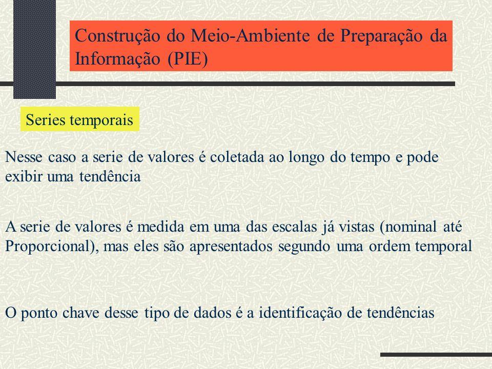 Construção do Meio-Ambiente de Preparação da Informação (PIE) Series temporais Nesse caso a serie de valores é coletada ao longo do tempo e pode exibi