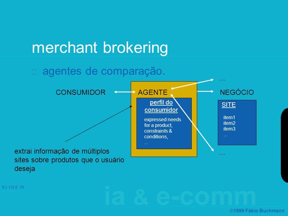 ia & e-comm S L I D E 19 ©1999 Fábio Buchmann merchant brokering agentes de comparação. SITE expressed needs for a product, constraints & conditions,.
