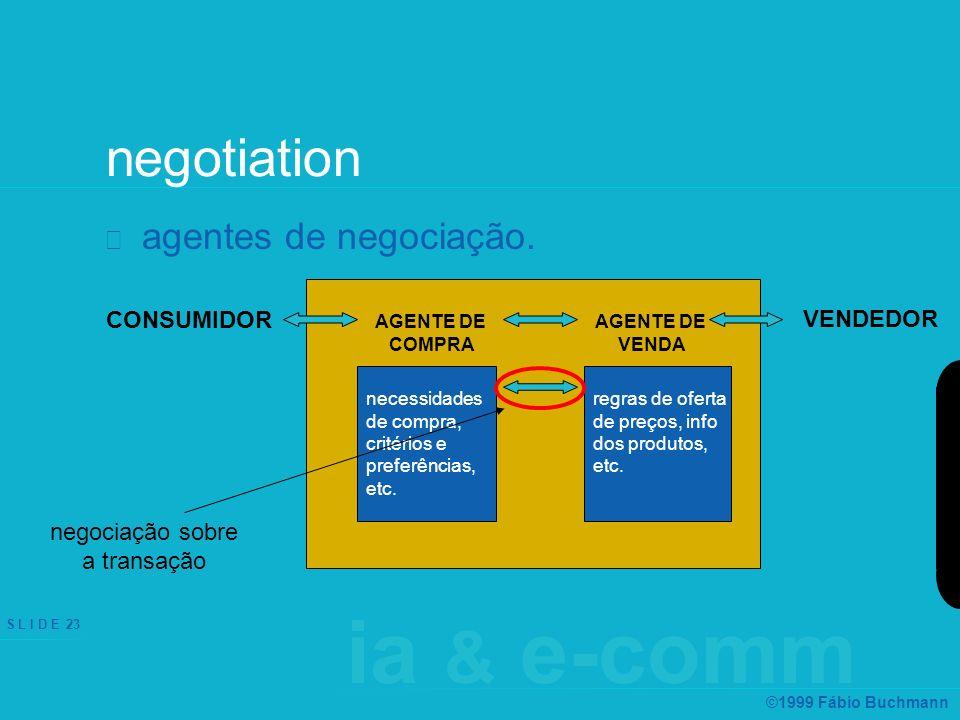 ia & e-comm S L I D E 23 ©1999 Fábio Buchmann negotiation agentes de negociação. CONSUMIDOR VENDEDOR AGENTE DE VENDA necessidades de compra, critérios