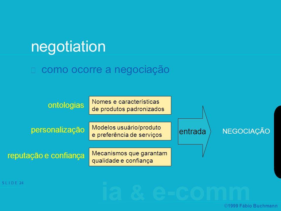 ia & e-comm S L I D E 24 ©1999 Fábio Buchmann negotiation como ocorre a negociação ontologias personalização reputação e confiança Nomes e característ