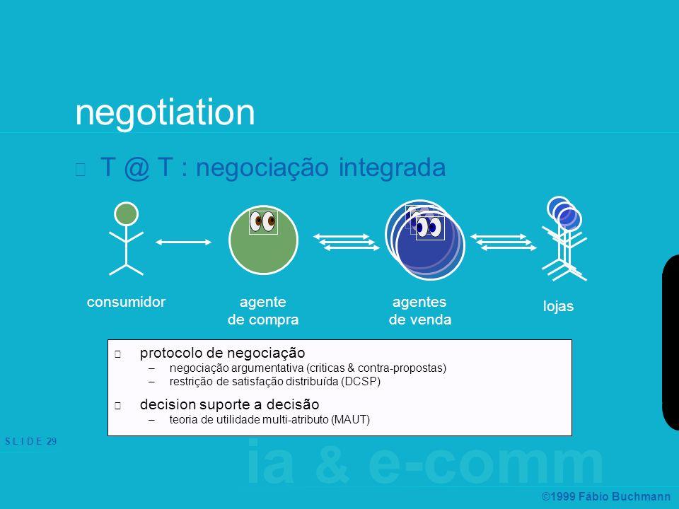 ia & e-comm S L I D E 29 ©1999 Fábio Buchmann negotiation T @ T : negociação integrada protocolo de negociação –negociação argumentativa (criticas & contra-propostas) –restrição de satisfação distribuída (DCSP) decision suporte a decisão –teoria de utilidade multi-atributo (MAUT) agente de compra consumidoragentes de venda lojas