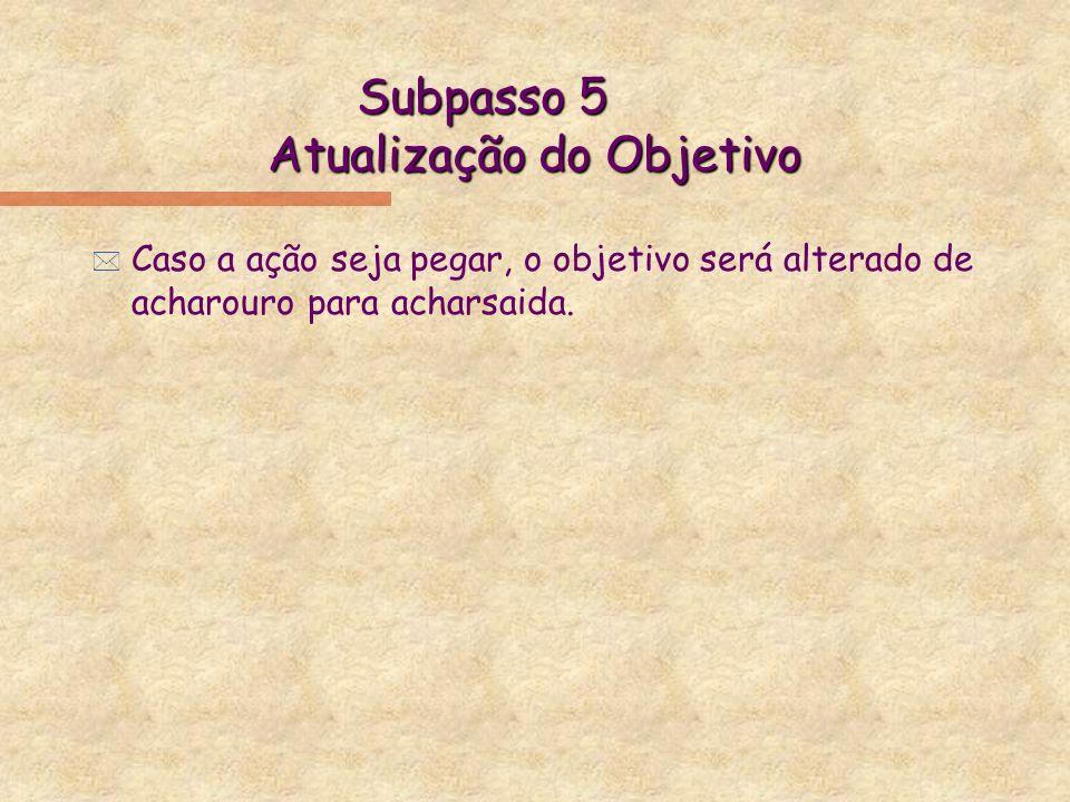 Subpasso 5 Atualização do Objetivo * Caso a ação seja pegar, o objetivo será alterado de acharouro para acharsaida.