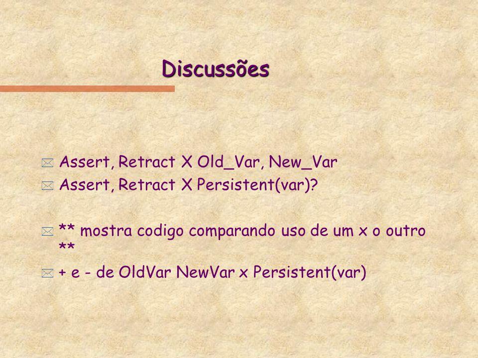 Discussões * Assert, Retract X Old_Var, New_Var * Assert, Retract X Persistent(var).
