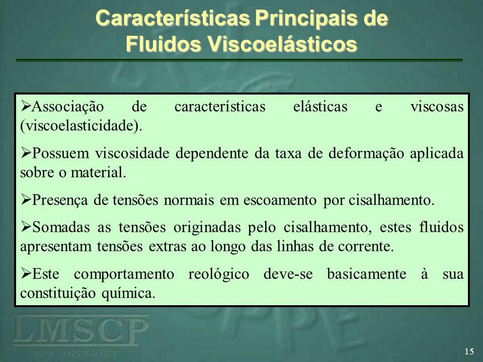 Características Principais de Fluidos Viscoelásticos 15 Associação de características elásticas e viscosas (viscoelasticidade).