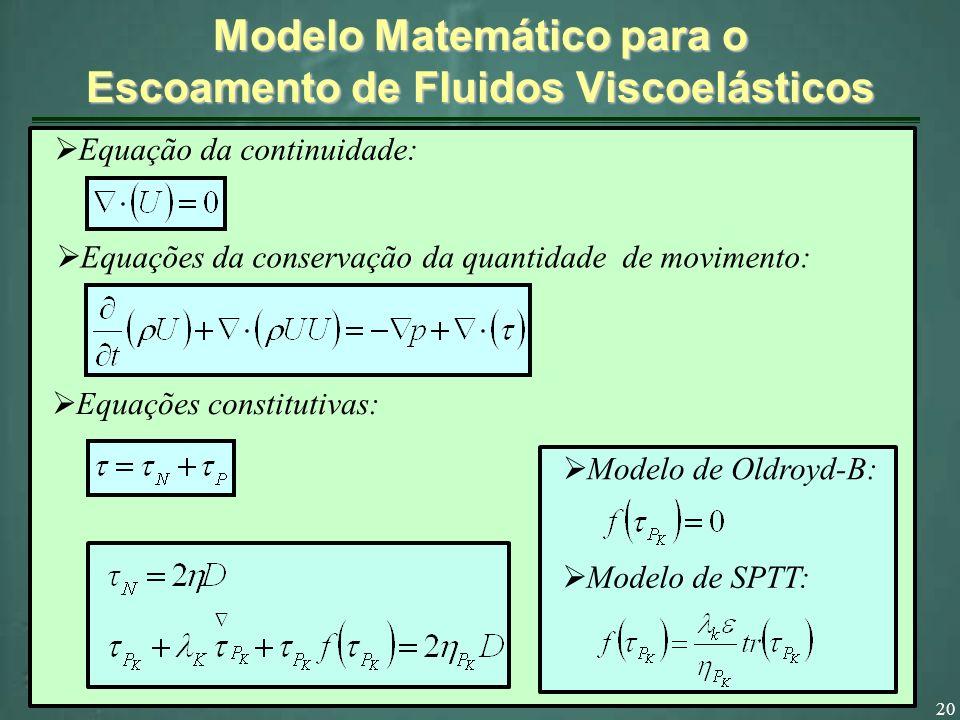 20 Modelo Matemático para o Escoamento de Fluidos Viscoelásticos Equação da continuidade: Equações da conservação da quantidade de movimento: Equações constitutivas: Modelo de Oldroyd-B: Modelo de SPTT: