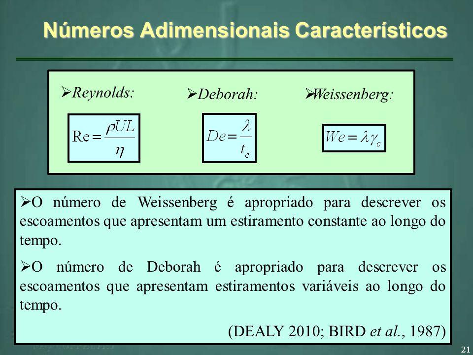 21 Números Adimensionais Característicos Deborah: Weissenberg: Reynolds: O número de Weissenberg é apropriado para descrever os escoamentos que apresentam um estiramento constante ao longo do tempo.