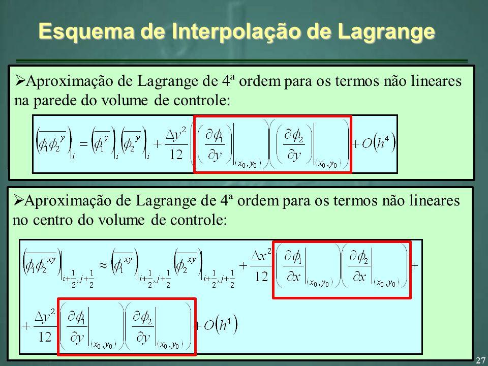27 Esquema de Interpolação de Lagrange Aproximação de Lagrange para os termos não lineares na parede do volume de controle: Aproximação de Lagrange para os termos não lineares no centro do volume de controle: Aproximação de Lagrange de 4ª ordem para os termos não lineares na parede do volume de controle: Aproximação de Lagrange de 4ª ordem para os termos não lineares no centro do volume de controle: