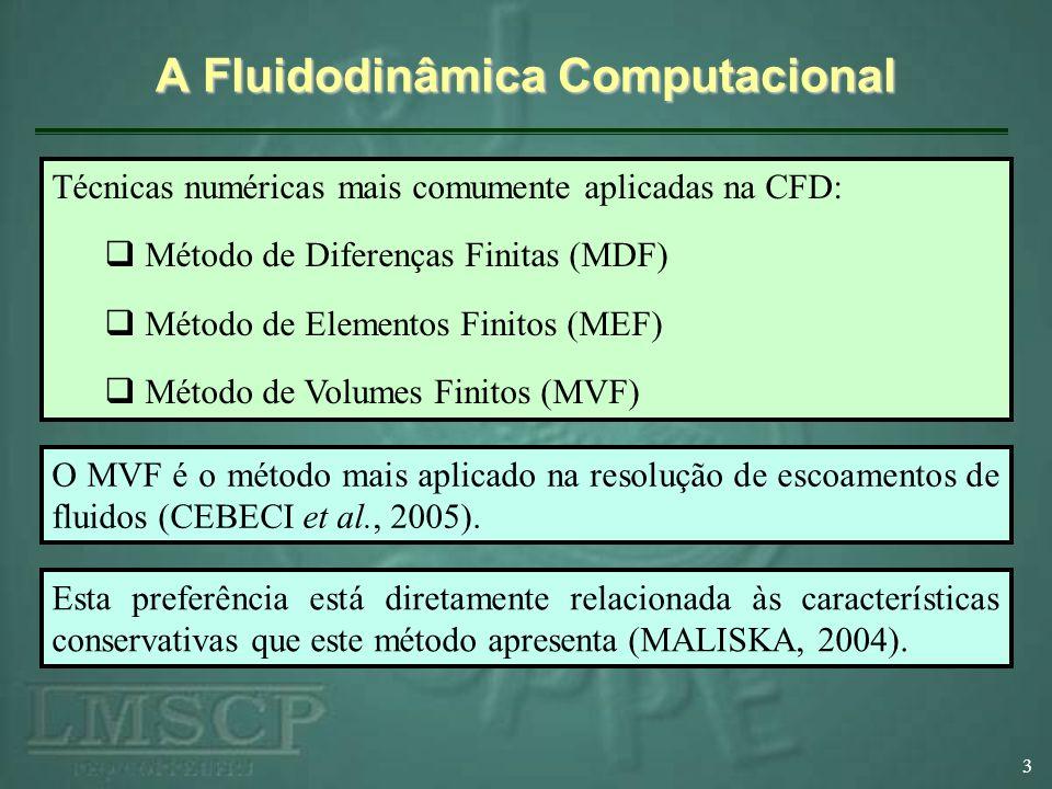 A Fluidodinâmica Computacional 3 Técnicas numéricas mais comumente aplicadas na CFD: Método de Diferenças Finitas (MDF) Método de Elementos Finitos (M