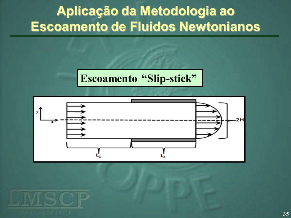 35 Aplicação da Metodologia ao Escoamento de Fluidos Newtonianos Escoamento Slip-stick