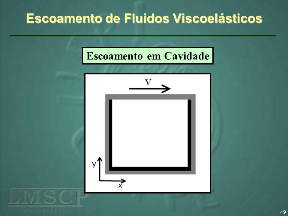 49 Escoamento de Fluidos Viscoelásticos Escoamento em Cavidade