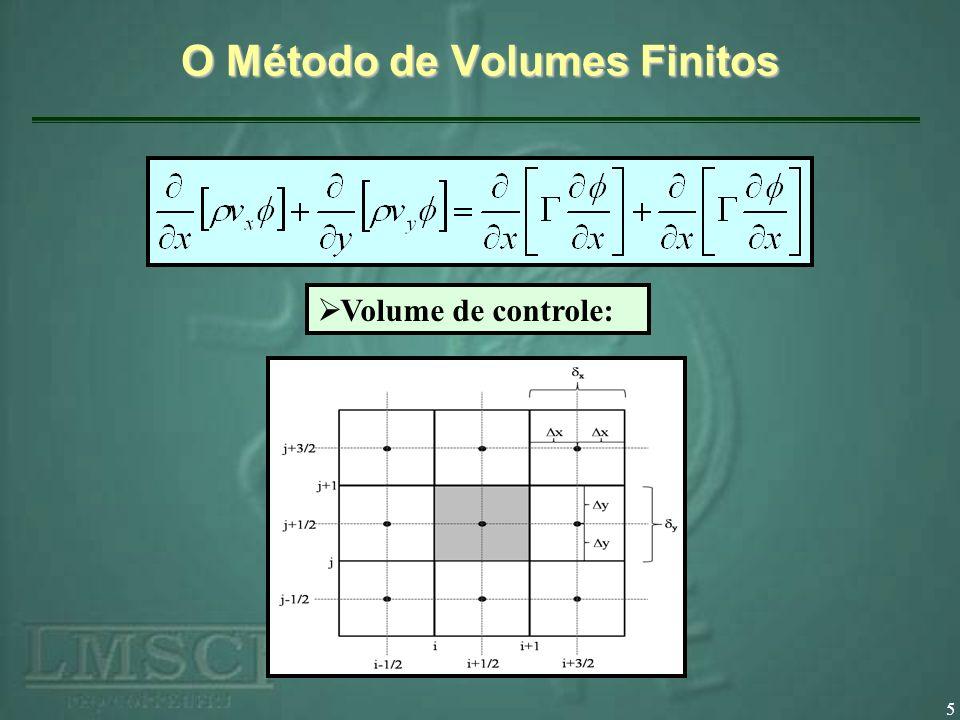 O Método de Volumes Finitos 6 Integrando a equação no volume de controle adotado: Obtém-se a expressão: