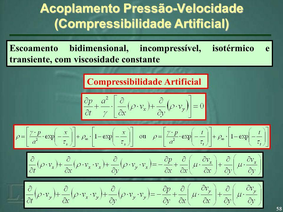 58 Acoplamento Pressão-Velocidade (Compressibilidade Artificial) Compressibilidade Artificial Escoamento bidimensional, incompressível, isotérmico e transiente, com viscosidade constante