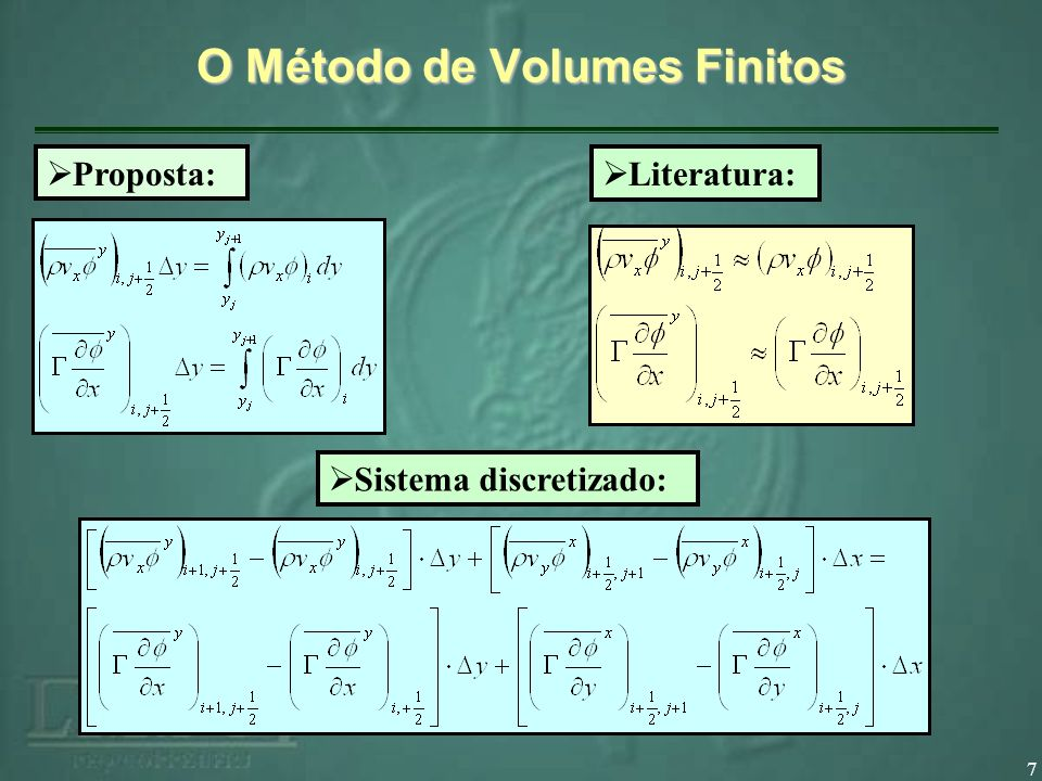 7 Literatura: Proposta: Sistema discretizado: O Método de Volumes Finitos