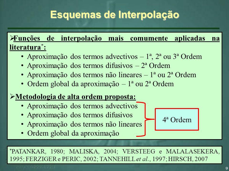 9 Funções de interpolação mais comumente aplicadas na literatura * : Aproximação dos termos advectivos – 1ª, 2ª ou 3ª Ordem Aproximação dos termos dif