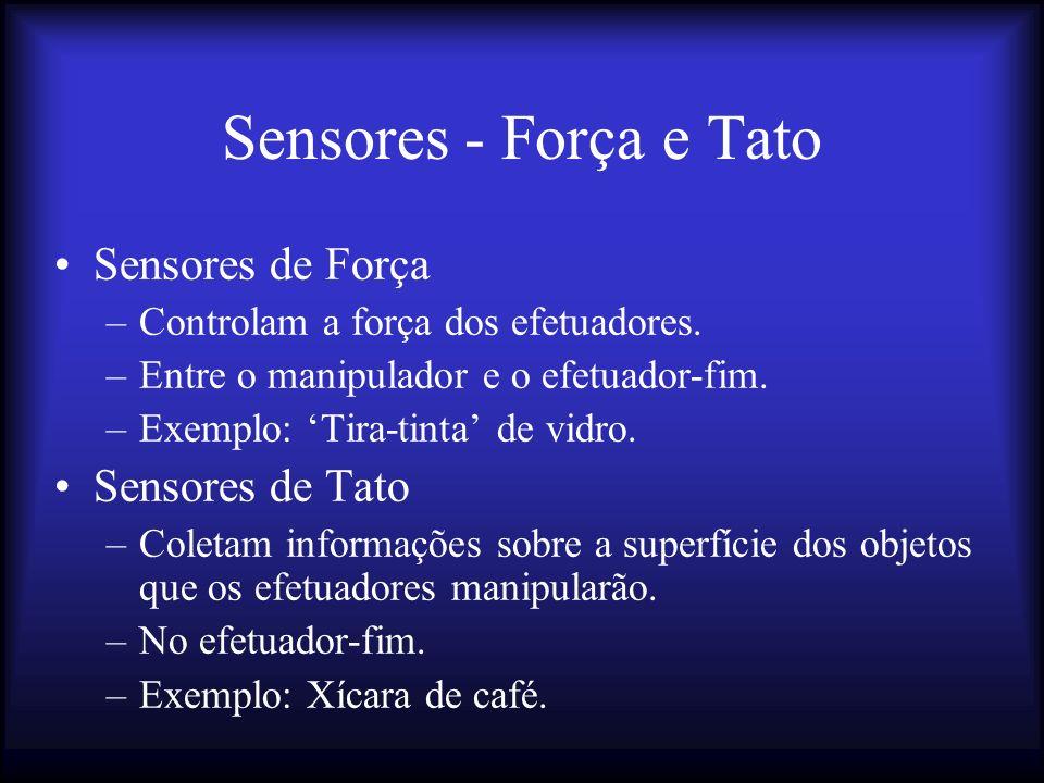Sensores - Força e Tato Sensores de Força –Controlam a força dos efetuadores.