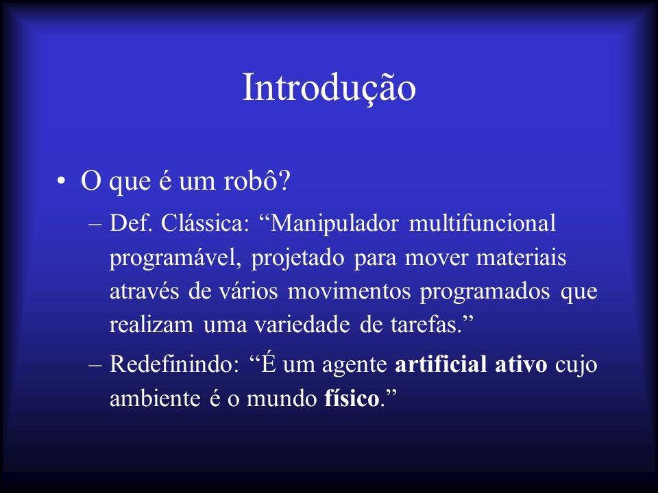 Robôs Autônomos Definição: –Robôs que alteram seus planos durante a execução.