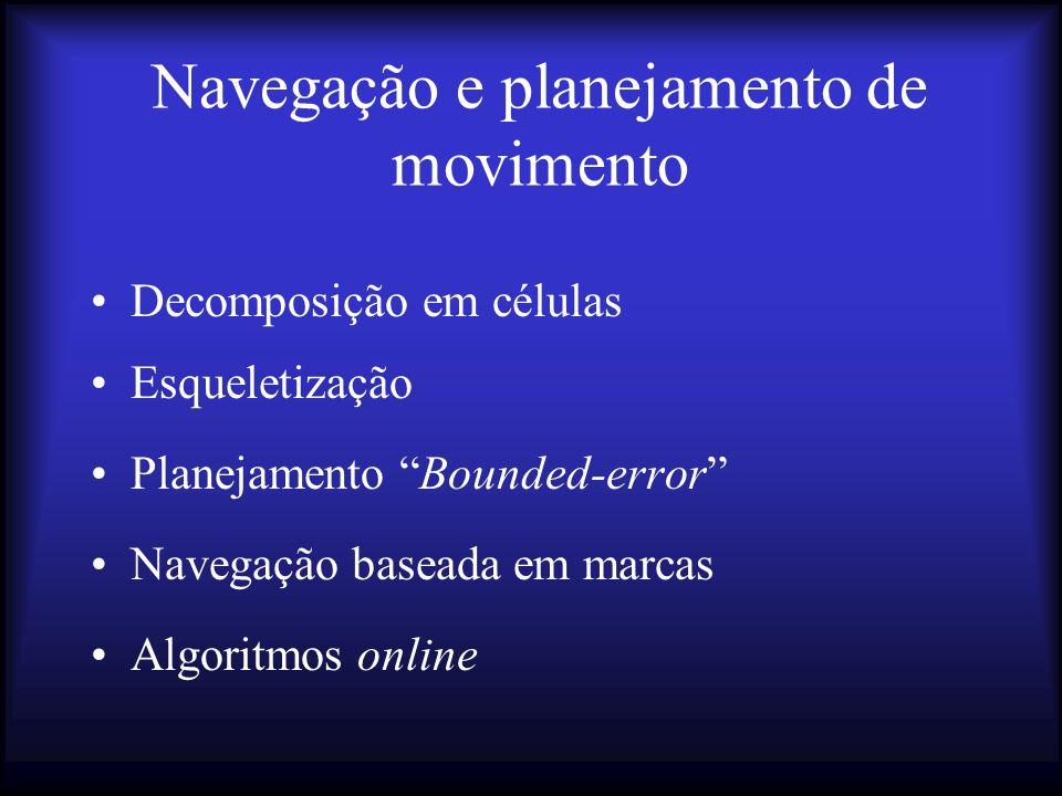 Navegação e planejamento de movimento Decomposição em células Esqueletização Planejamento Bounded-error Navegação baseada em marcas Algoritmos online