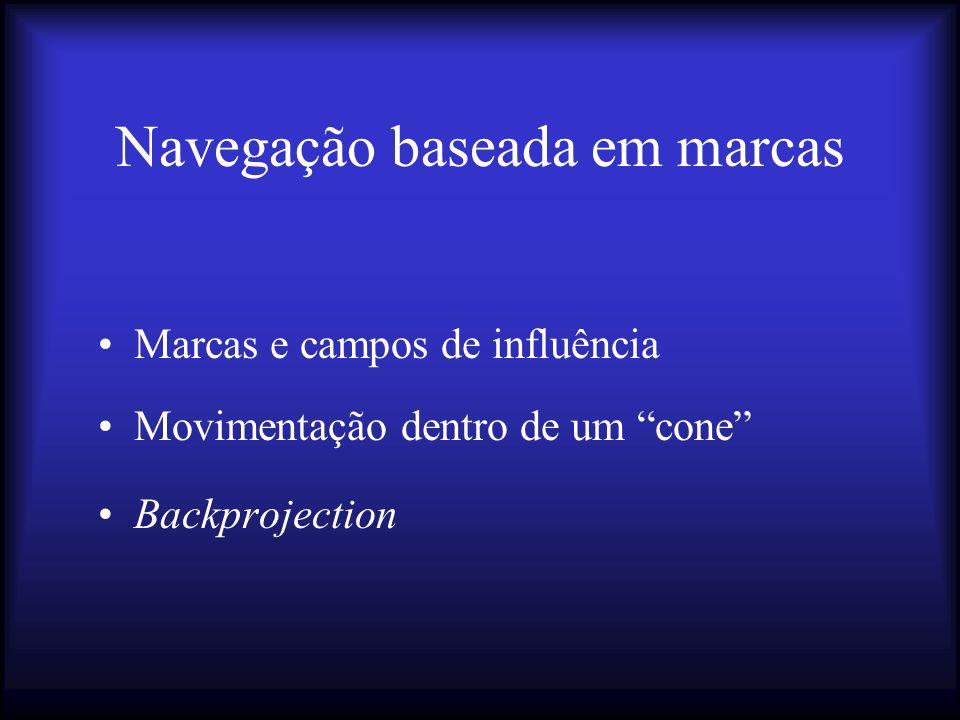 Navegação baseada em marcas Marcas e campos de influência Movimentação dentro de um cone Backprojection