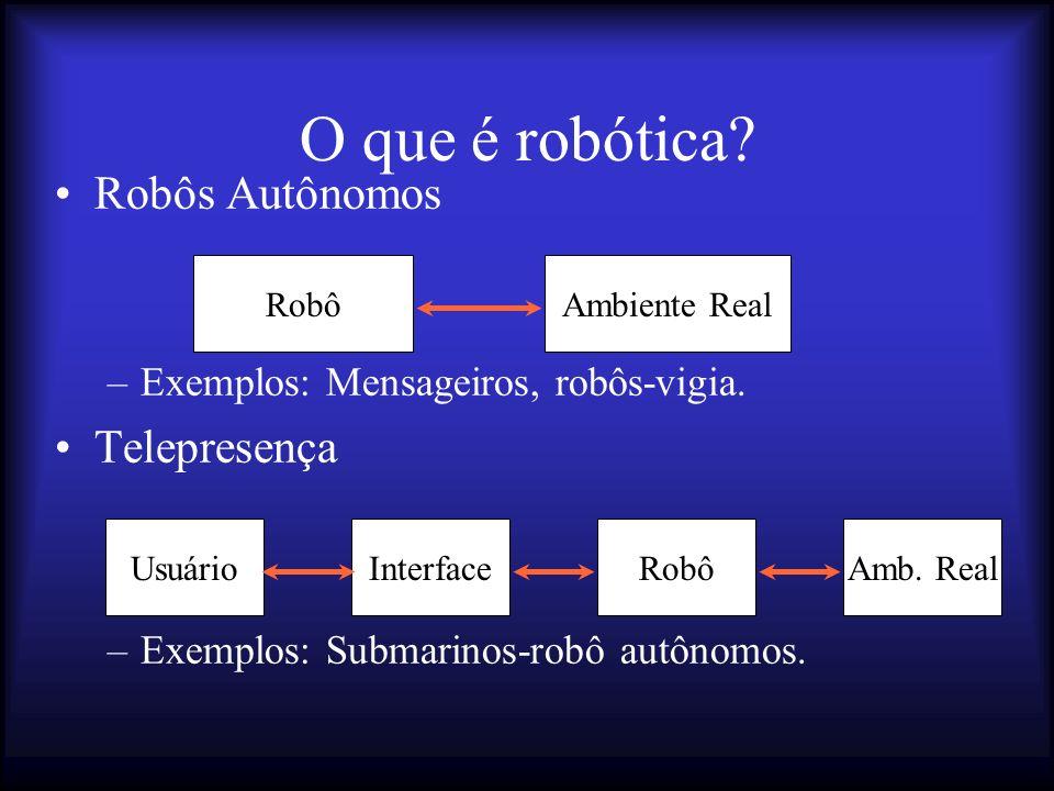 O que é robótica.Robôs Autônomos –Exemplos: Mensageiros, robôs-vigia.