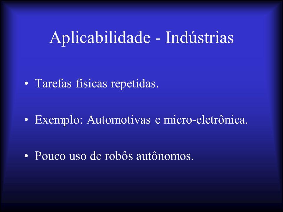 Aplic.- Manipulação de materiais Armazenamento, transporte e entrega de material (autônomo).