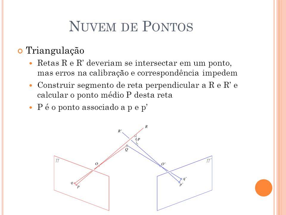 N UVEM DE P ONTOS Triangulação Retas R e R deveriam se intersectar em um ponto, mas erros na calibração e correspondência impedem Construir segmento d