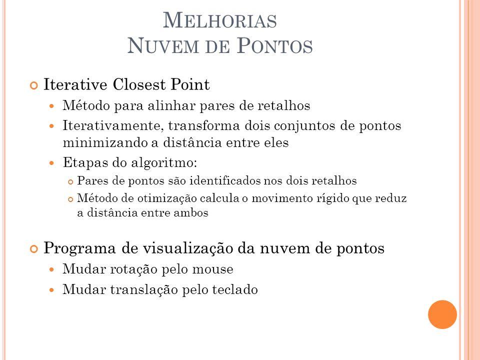 M ELHORIAS N UVEM DE P ONTOS Iterative Closest Point Método para alinhar pares de retalhos Iterativamente, transforma dois conjuntos de pontos minimiz
