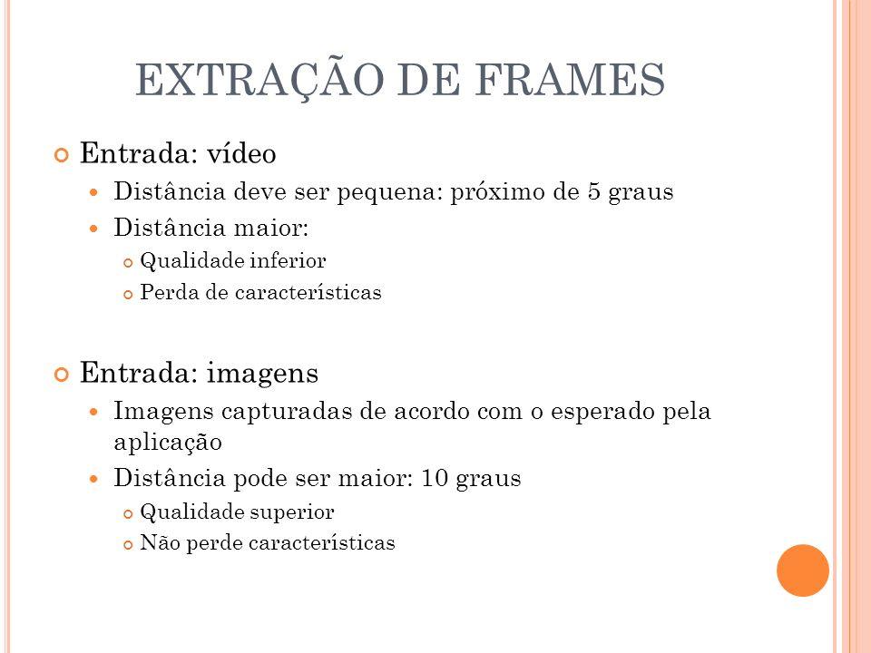 EXTRAÇÃO DE FRAMES Entrada: vídeo Distância deve ser pequena: próximo de 5 graus Distância maior: Qualidade inferior Perda de características Entrada: