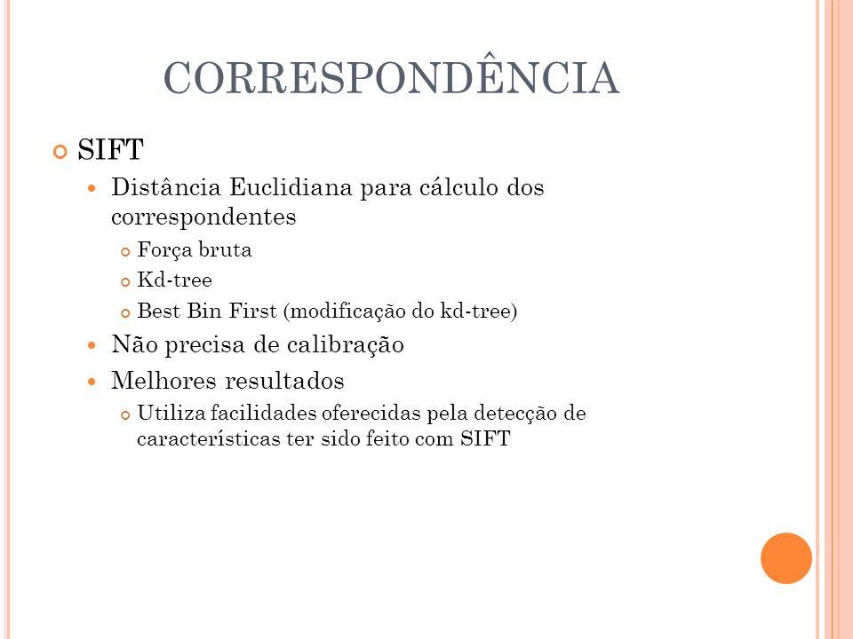 CORRESPONDÊNCIA SIFT Distância Euclidiana para cálculo dos correspondentes Força bruta Kd-tree Best Bin First (modificação do kd-tree) Não precisa de