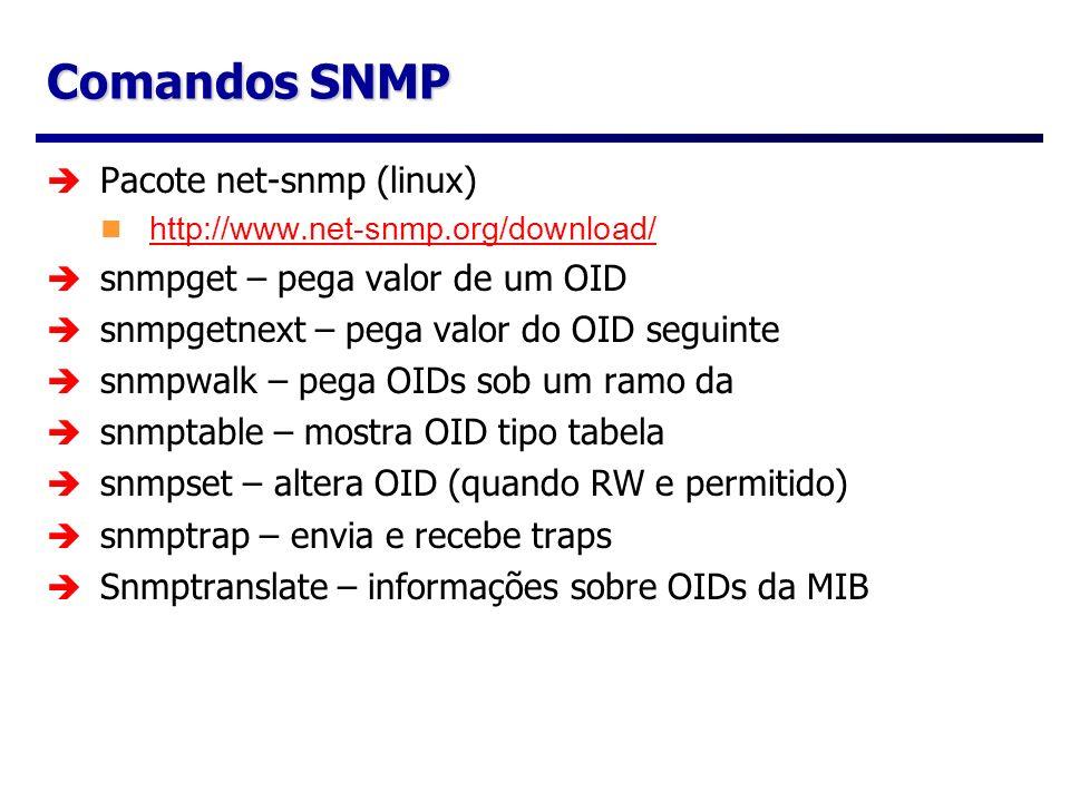Comandos SNMP Pacote net-snmp (linux) http://www.net-snmp.org/download/ snmpget – pega valor de um OID snmpgetnext – pega valor do OID seguinte snmpwa