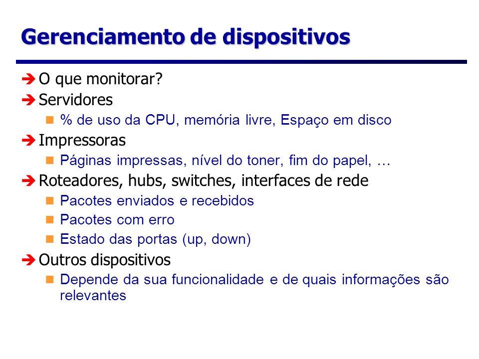 Gerenciamento de dispositivos O que monitorar? Servidores % de uso da CPU, memória livre, Espaço em disco Impressoras Páginas impressas, nível do tone