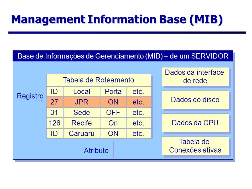 Management Information Base (MIB) Base de Informações de Gerenciamento (MIB) – de um SERVIDOR Tabela de Roteamento IDLocalPortaetc. 27JPRONetc. 31Sede