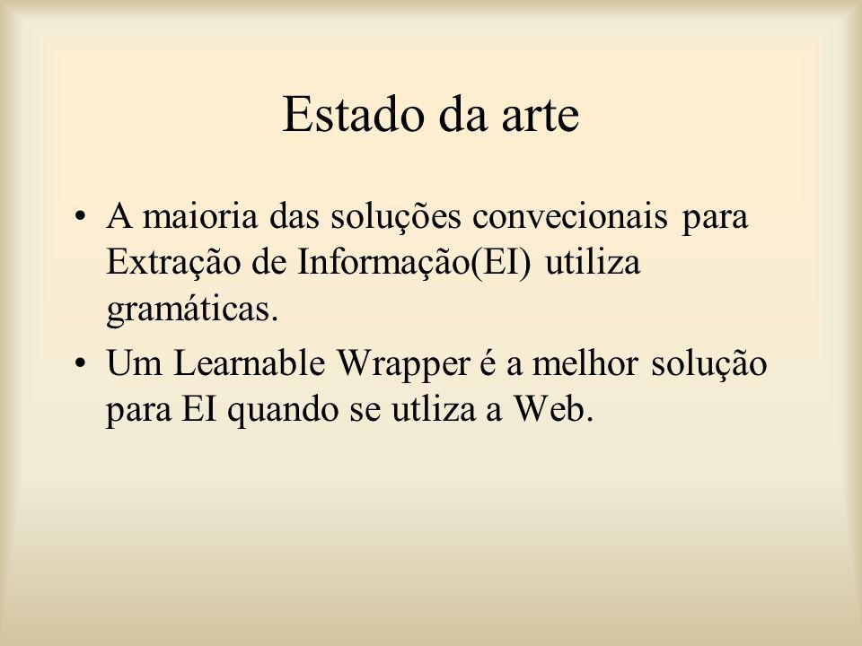 Estado da arte A maioria das soluções convecionais para Extração de Informação(EI) utiliza gramáticas.