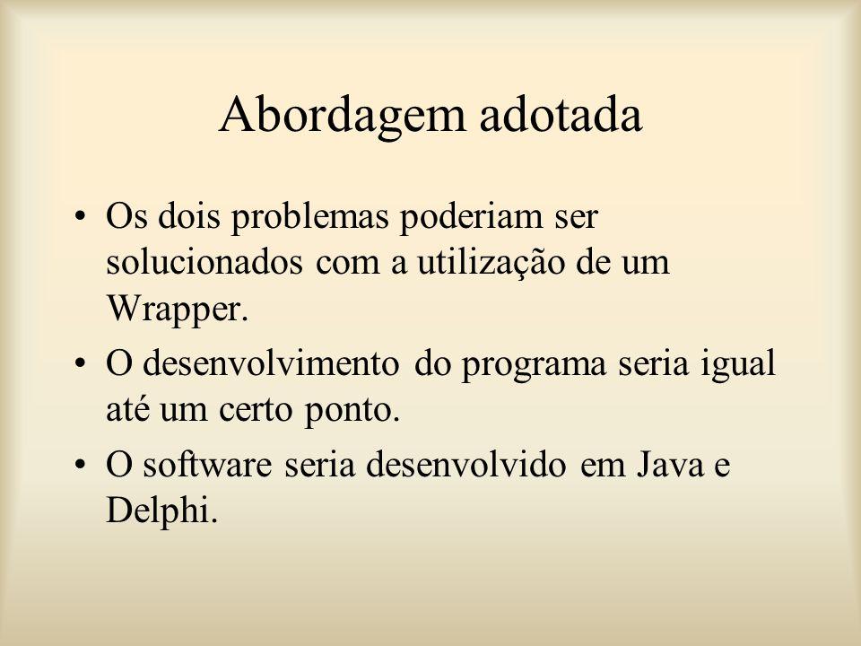 Abordagem adotada Os dois problemas poderiam ser solucionados com a utilização de um Wrapper.