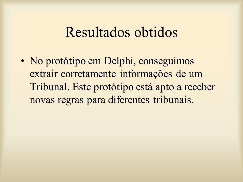Resultados obtidos No protótipo em Delphi, conseguimos extrair corretamente informações de um Tribunal.