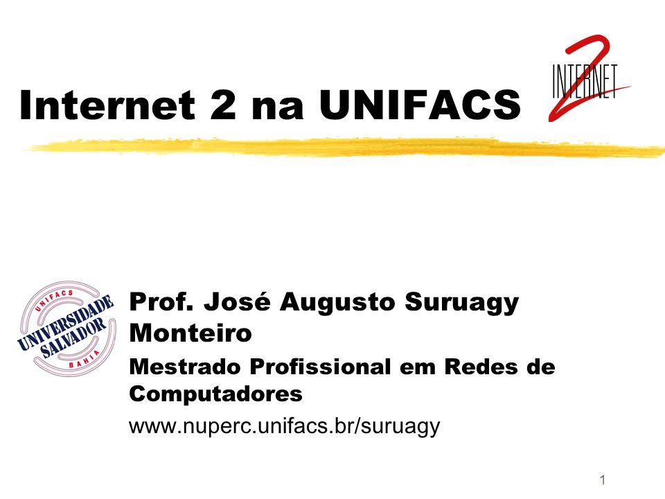 1 Internet 2 na UNIFACS Prof. José Augusto Suruagy Monteiro Mestrado Profissional em Redes de Computadores www.nuperc.unifacs.br/suruagy
