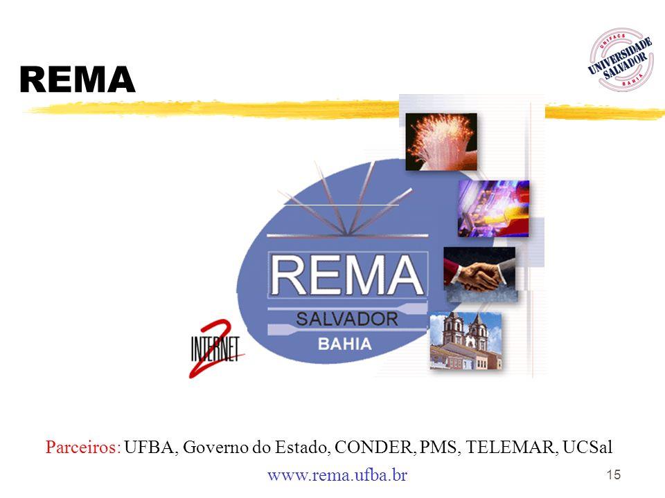 15 REMA Parceiros: UFBA, Governo do Estado, CONDER, PMS, TELEMAR, UCSal www.rema.ufba.br