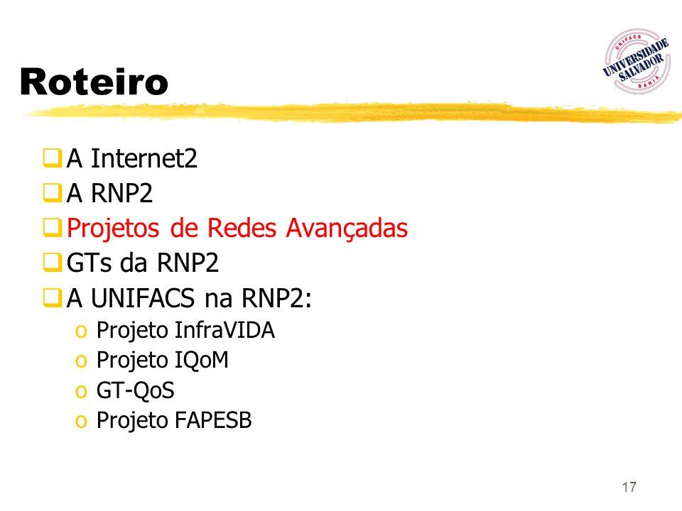 17 Roteiro A Internet2 A RNP2 Projetos de Redes Avançadas GTs da RNP2 A UNIFACS na RNP2: oProjeto InfraVIDA oProjeto IQoM oGT-QoS oProjeto FAPESB