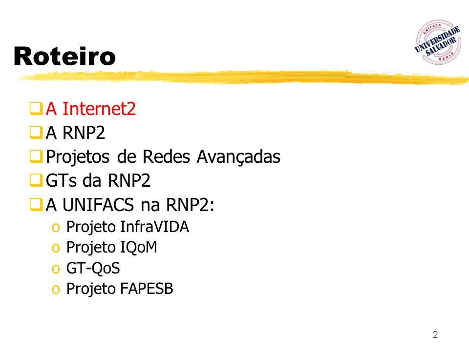 13 Roteiro A Internet2 A RNP2 Projetos de Redes Avançadas GTs da RNP2 A UNIFACS na RNP2: oProjeto InfraVIDA oProjeto IQoM oGT-QoS oProjeto FAPESB