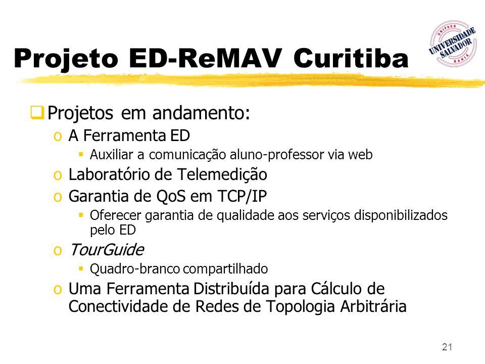 21 Projeto ED-ReMAV Curitiba Projetos em andamento: oA Ferramenta ED Auxiliar a comunicação aluno-professor via web oLaboratório de Telemedição oGaran