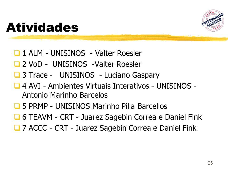 26 Atividades 1 ALM - UNISINOS - Valter Roesler 2 VoD - UNISINOS -Valter Roesler 3 Trace - UNISINOS - Luciano Gaspary 4 AVI - Ambientes Virtuais Inter