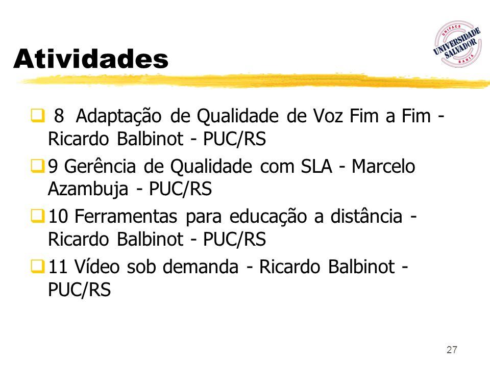 27 Atividades 8 Adaptação de Qualidade de Voz Fim a Fim - Ricardo Balbinot - PUC/RS 9 Gerência de Qualidade com SLA - Marcelo Azambuja - PUC/RS 10 Fer