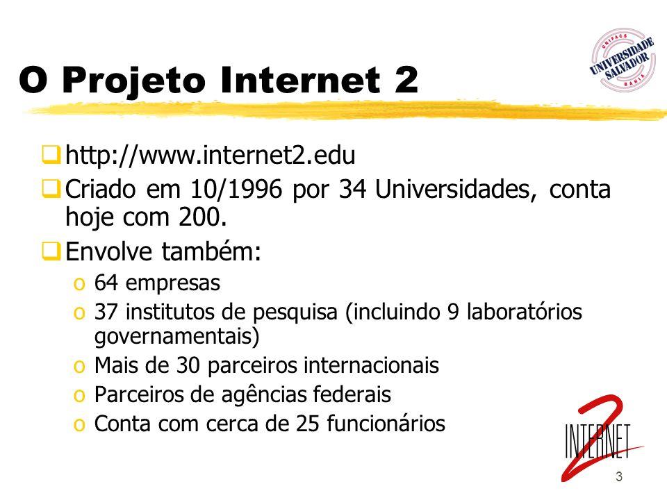 3 O Projeto Internet 2 http://www.internet2.edu Criado em 10/1996 por 34 Universidades, conta hoje com 200. Envolve também: o64 empresas o37 instituto